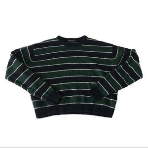 Cropped forest green+navy striped brandy sweater ✨